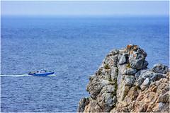 dove l'immenso incontra l 'infinito ... (miriam ulivi) Tags: miriamulivi nikond7200 france bretagne penisoladicrozon finistèremeridionale pointedepenhir scogliera oceano cliff ocean battello boat azzurro blue nature