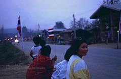Chiang Khan, Preparing for the Queen (blauepics) Tags: thailand east city stadt chiang khan thai people menschen leute rural ländlich woman frau man mann queen sirikit road street strasse waiting warten fakel torches decoration visit besuch royal königlich