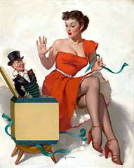 Surprised by Gil Elvgren, 1952 (gameraboy) Tags: gilelvgren pinup pinupart illustration painting vintage woman sexy surprised 1950s 1952 nylons stockings heels