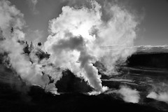 As The Steam Blows (Harald Philipp) Tags: wanderlust mysterious atmosphere dreamy enchanting haraldphilipp outdoors rural panorama scenic scenery landscape alien otherworldly light sky steam steamy ethereal silhouette desolate desolation hill forest woods trees natural artisticnature geothermal geyser thermalspring thermalpool pool hotspring geology river lake water blackandwhite bw blackwhite monochrome schwarzweiss nocolor dark shadows contrast nikon nikkor d810 unitedstates northamerica usa park nationalpark western westernusa yellowstone wyoming sun