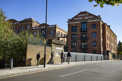 Old Spratt's Factory. Violet Road by Limehouse Cut (London Less Travelled) Tags: uk unitedkingdom england britain london bow poplar urban city suburban street factory bridge spratts dogbiscuit warehouse