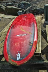 Red Axe (David K. Edwards) Tags: surfboard axe board rail red beach seashore coast picnic table lajolla california