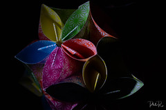 Folded (PhilR1000) Tags: paper origami colourful blackbackground macro macromondays crikledwrinkledfoldedorcreased art folded kusudamaflowers
