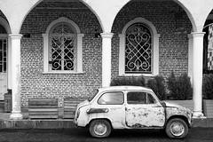 Oldtimer in Georgia (JarHTC) Tags: fujifilm xe2 xf27mm bw monochrome georgia kutaisi car oldtimer vintage