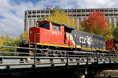 A beltpack GP40 (Michael Berry Railfan) Tags: cn9677 cn canadiannational gp402w gp402 emd gmd portofmontreal oldport oldmontreal montreal quebec train freighttrain