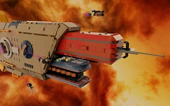 The Janus History, 2 (ORION_brick) Tags: ship shiptember janus mako rebel corporate ring warp jump pocket lego 100 studs star starship space spaceship tug war warship modular module render mecabricks edit edited contest nebula large huge engine drive