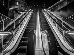 #267 Up or down (tokyobogue) Tags: tokyo japan shibuya nexus6p nexus 365project blackandwhite blackwhite monochrome escalator lines up down steps