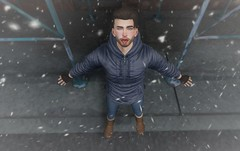 First Snow (EnviouSLAY) Tags: city snow winter holidays jacket puffy blue jeans denim boots uggs brown brunette gloves fingerless black rosey red cold burley ascend noche riot valekoer vale koer belleza bento lelutka tmd equal10 equal 10 themensdepartment the mens department newreleases new releases mensmonthly mensevent mensfashion mensfair monthlyevent monthlyfashion monthlyfair monthly men monthlymen event fair fashion pale male gay blogger secondlife second life photography