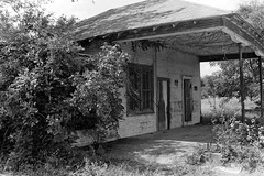 Abandoned Gas Station (swampt01) Tags: oldbuildings abandoned houses historical history hiking blackandwhite trix