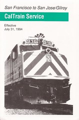 CTtt31JUL94 01 (By Air, Land and Sea) Tags: train rail railway railroad commuter suburban california sanfrancisco sanjose pcs peninsulacommuteservice timetable schedule caltrain