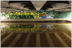 Noyes in the Hood (Robert Drozda) Tags: fairbanks alaska noyesslough danbystreet collegeroad bridge graffiti colour water reflection drozda