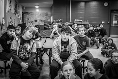 Art Class (Phil Roeder) Tags: desmoines iowa desmoinespublicschools jeffersonelementaryschool artclass class students school fifthgrade blackandwhite monochrome leica leicax2