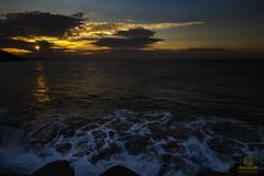 sunset westward ho uk (kapper22) Tags: westward ho uk outdoor coast beach seaside yellow blue surf wave reflection