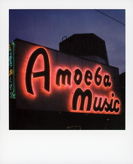 Amoeba Music Neon 2 (tobysx70) Tags: polaroid originals color 600 instant film slr680 amoeba music neon haight street san francisco california ca sign lit illuminated twilight silhouette cds lps record shop store polavacation 042818 toby hancock photography