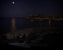 Mediterranean Moonlight (MrBlueSky*) Tags: moonlight moon night nightsky stjuliansbay malta travel sea canon canonpowershot mediterranean
