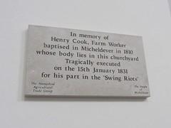 Swing Rioter (Living in Dorset) Tags: memorial swingriots henrycook stmaryschurch micheldever hampshire england uk gb 1831 church