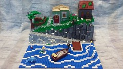 Medieval Seaside Village (LegoHobbitFan) Tags: lego medieval castle house ocean sea water fish fishing cliff village town grass moc creation dock boat waves blue gray mountain rocks tree birds path