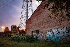 Graffiti (deefken) Tags: flanders archway midwest arched old mill manor urban landscape light post brick span fife graffiti house cables ghent belgium goldenhour building