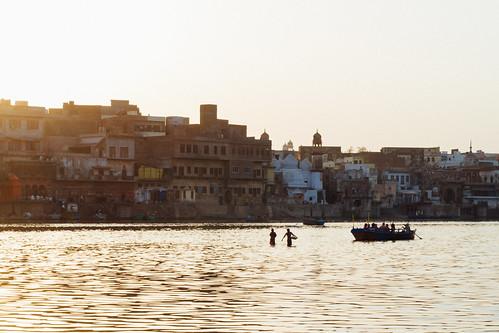 River Scene at Dusk, Mathura India