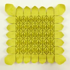 🌻 Sunflower Tessellation (refold) (Michał Kosmulski) Tags: origami tessellation flower sunflower petals leaves michał kosmulski elephanthidepaper yellow