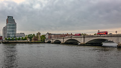 Putney, London (PhredKH) Tags: 2470mm bridges buildings canoneos5dmkiii canonphotography ef1635mmf4lisusm ef2470mmf4lisusm fredkh highrise london overcast photosbyphredkh phredkh putney redbus riverthames splendid thamesriver cars cityoflondon clouds river sky water bridge tree building boat