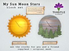Thistle My Sun Moon Stars Clock Set (Liz Gealach) Tags: lizgealach thistlehomes thistle homes home decor blueprint secondlife second life sl prefab decorating clock eecummings sun moon stars blueprintevent
