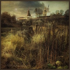 Autumn in Borovsk. (odinvadim) Tags: iphoneart landscape iphoneonly iphonex iphoneography specialist church mytravelgram autumn painterlymobileart old iphone snapseed evening artist travel sunset oldhouse textured editmaster textures