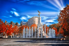 Autumn in Dijon (stephaneblaisphoto) Tags: autumn architecture blue building exterior built structure change city cloud sky focus foreground fountain landscape nature no people office outdoors plant skyscraper travel destinations tree water dijon france