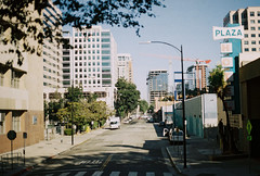 almaden avenue (jayplorin) Tags: san jose california canon ae1 film buildings windows road street city urban cars kodak gold 200 35mm