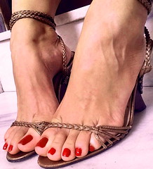 strap tease! (pbass156) Tags: sexy sandals sandalias strappy shoes toes toefetish toenails teasing toepolish paintedtoes pedicure painted pedi feet foot footfetish fetish heels