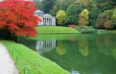 stourhead garden (mountain mike1) Tags: autumn red lake water green maple reflection