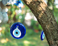 Nazar (✦ Erdinc Ulas Photography ✦) Tags: lenstagger nazar rope blue white eye amulet turkish traditional turkey ottoman circle bokeh protection culture safranbolu unesco travel turkiye smooth background canon vintage wood garden plant tree canonfd50mmf14