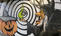 Cackling witch and a cheerful pumpkin - street art in an underpass, Paris (Monceau) Tags: cackling witch pumpkin hat blackandwhite spiral streetart underpass paris 13tharr spooktacular smileonsaturday 3spooky atsh october 2018