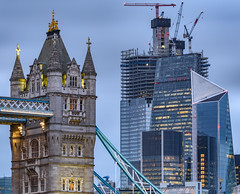 Towers - Old and New.... (Aleem Yousaf) Tags: twilight lights tower bridge cheesegrater 22 bishopsgate scalpel skyscraper skyline london ilovelondon londoner monument historic old tourist new modern buildings dusk exposure long lee grduated filter neutral density d810 70200mm telephoto rflections steel glass construction cranes cityscape ambientblue hour evening kids block air nikon digital nikkor camera me flickr outside classic wall pretty architecture