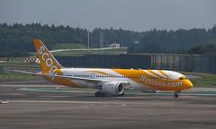 Scoot (Treflyn) Tags: thefutureisyellow plane scoot boeing 7878 787 dreamliner taxi gate tokyo narita airport arrived bangkok nrt bkk