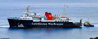 Scotland Greenock car ferry Isle of Arran leaving port with the aid of tugs Biter and Battler 21 September 2018 by Anne MacKay