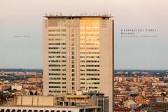 Grattacielo Pirelli, Milano (Obliot) Tags: milanopanoramica boscoverticale foschia mp 2016 alberi case pirelli milano cielo tramonto città grattacielo boscovertcale finestre lombardia bosco riflessi obliot tetti maggio italia it