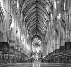 A place to reflect (WorcesterBarry) Tags: blackwhite bnw places photographers cathedral worcester pillars chairs lovebw monochrome architecture arches prayers light lines space travel tourists display adventure kindness heritage old