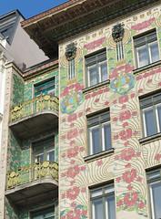ornate little balconies (squeezemonkey) Tags: vienna austria architecture building secessionist secessionart wohnhausvonottowagner secession wien artnouveau viennesearchitecture wienzeilehouses ottowagner apartments facade majolicahouse balconies