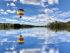 Balloon over Fairhaven Bay (briburt) Tags: flight flying float azure blue trees country landscape day peaceful dramaticsky fairhavenbay colorful color hotairballoon balloon sudburyriver massachusetts concord river bay reflections reflect sky water briburt