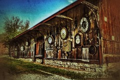 Entropy and Time-a-Ticking. (Fotofricassee) Tags: clock wall barn depot weathered