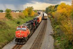 Stormy Finish (sdl39hogger) Tags: cn canadiannational waukeshasub byronhill ge generalelectriclocomotives gevolivesmatter erie