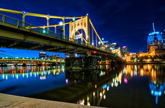 Morning Blues (tquist24) Tags: alleghenyriver hdr nikon nikond5300 outdoor pennsylvania pittsburgh robertoclementebridge bluehour bridge city color colorful downtown geotagged lights longexposure morning reflection reflections river scenic sky urban water unitedstates
