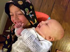 Rethinking this arrangement (quinn.anya) Tags: sam kindergartener eliza baby swing brother sister
