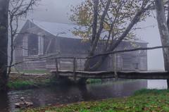 Caldwell Barn (Explore 10/21/2018) (ArmyJacket) Tags: cataloocheevalley cataloochee blueridgemountains appalachians northcarolina westernnorthcarolina gsmnp greatsmokeymountainsnationalpark barn building creek water fog outdoors historic travel valley weather