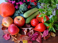 Nature's Bounty (zinnia2012) Tags: fruit vegetables herbs cyclamen flowers stilllife autumnleaves autumn