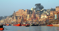 many colors of varanasi (1) (kexi) Tags: varanasi benares india asia panorama view water river ganga ganges boats many morning colors sky horizon samsung wb690 february 2017 blue red famous ancient city hccity oldcity people pilgrims crowd instantfave