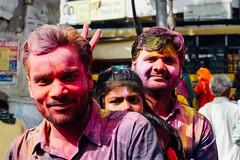 Smiling Trio With Holi Gulal (AdamCohn) Tags: adam cohn uttar pradesh india mathura vrindavan holi pilgrim pilgrimage pilgrimmage pilgrims streetphotographystreetphotographer wwwadamcohncom adamcohn uttarpradesh isapurbanger
