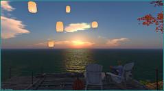 Le ciel, le soleil et la mer ... (Tim Deschanel) Tags: tim deschanel sl second life paysage exploration frog hollow blue nile coucher soleil sunset mer sea lampion