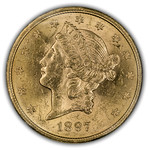 1897S USA $20 Gold ICCS AU55 XZM125 Obverse thumbnail